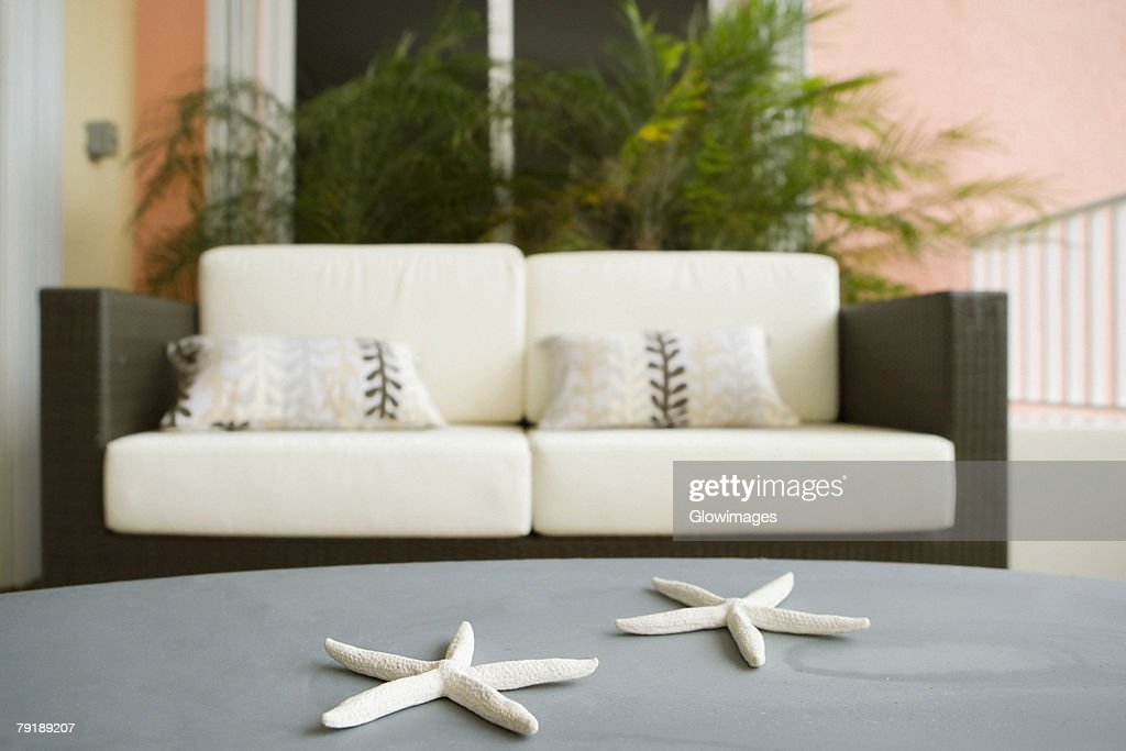 Toy star fish on a table with a couch in the background : Foto de stock