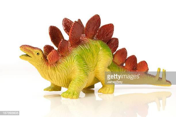 Toy Stegosaurus Dinosaurier; farbenfrohe, weißer Hintergrund, Ausgestorbene Tierart