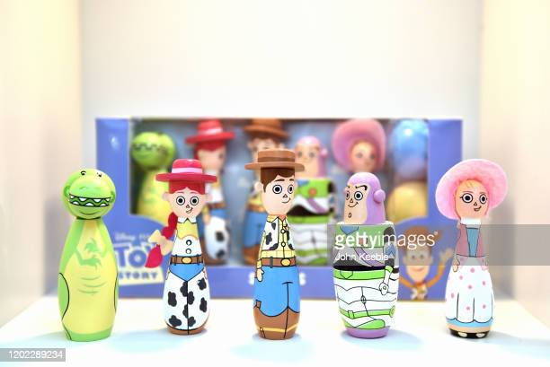 Toy Story wooden skittles set by Orange Tree Toys on display during the Toy Fair at Olympia London on January 21 2020 in London England The Toy Fair...