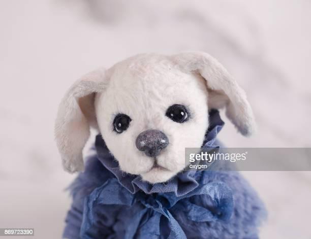 Toy Teddy Dog Girl Labrador in blue dress