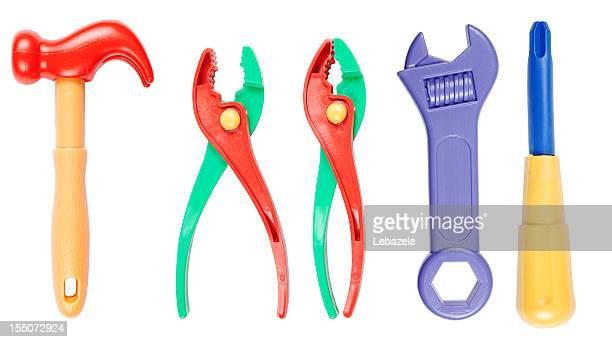 giocattolo set di strumenti (tracciati di ritaglio - giocattolo foto e immagini stock