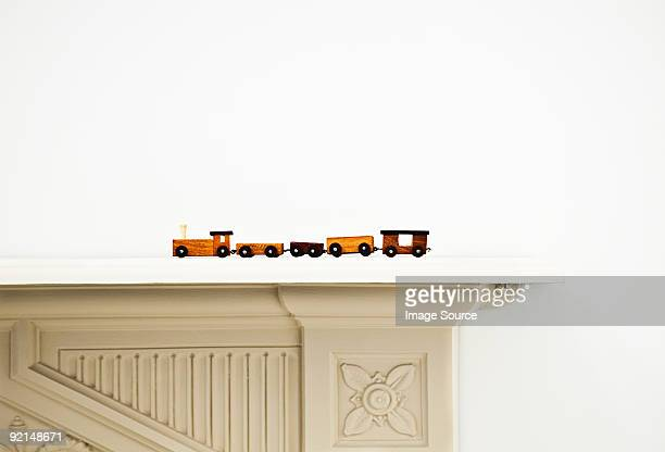 Toy train on a mantlepiece