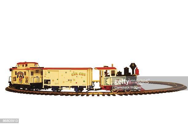 Toy train on tracks