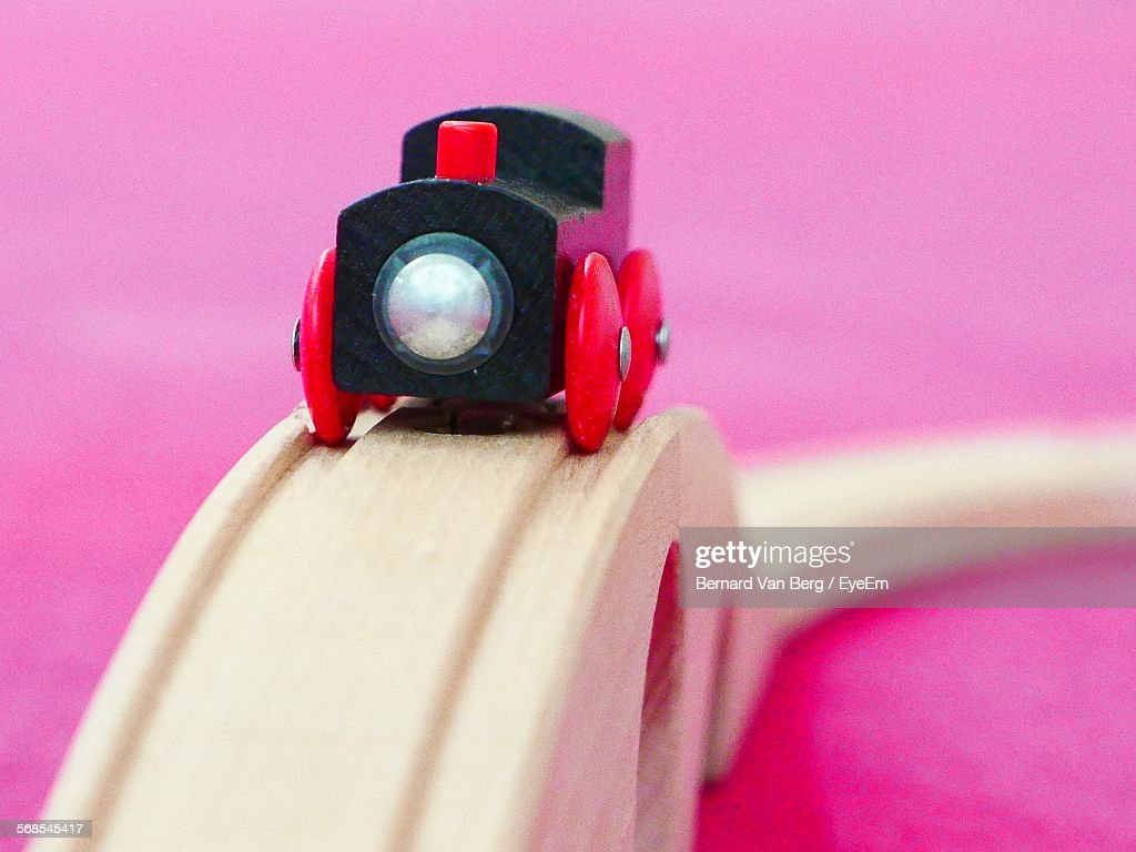 Toy Train On Wooden Railroad Track : Stock Photo