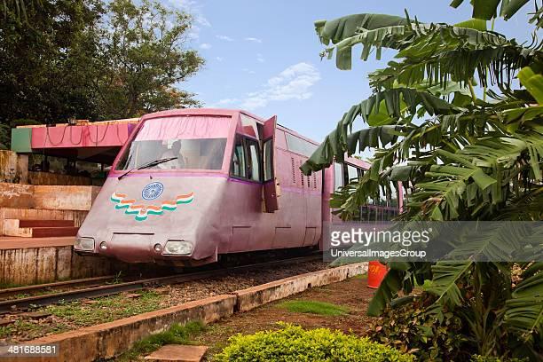 Toy train standing at a platform, Kailasagiri Park, Vishakhapatnam, Andhra Pradesh, India.