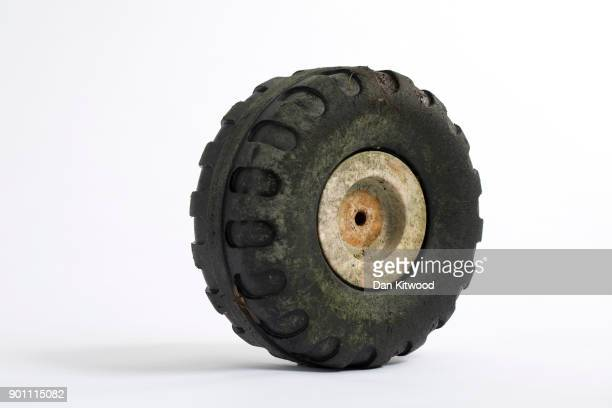 A toy wheel found on the shore of the Thames Estuary on January 2 2018 in Rainham Kent Tons of plastic and other waste lines areas along the Thames...