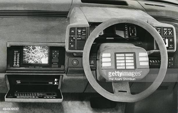 Toyo Kogyo displays a car equipping a prototype of a car navigation system during the 25th Tokyo Motor Show on October 31 1983 in Tokyo Japan