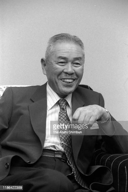 Toyoda Gosei Chairman Taiichi Ohno speaks during the Asahi Shimnbun interview at the company headquarters on August 27 1981 in Kasuga Aichi Japan