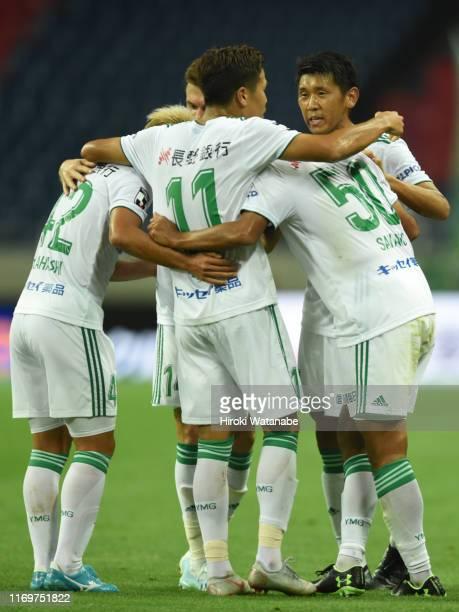 Toyofumi Sakano of Matsumoto Yamagacelebrates scoring his team's first goal during the J.League J1 match between Urawa Red Diamonds and Matsumoto...