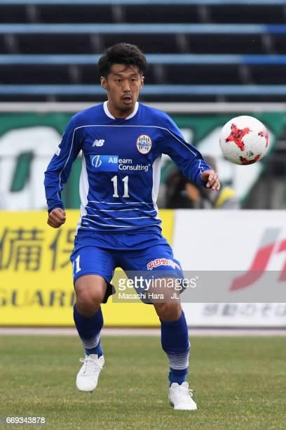 Toyofumi Sakano of Montedio Yamagata in action during the JLeague J2 match between Montedio Yamagata and Tokyo Verdy at ND Soft Stadium Yamagata on...