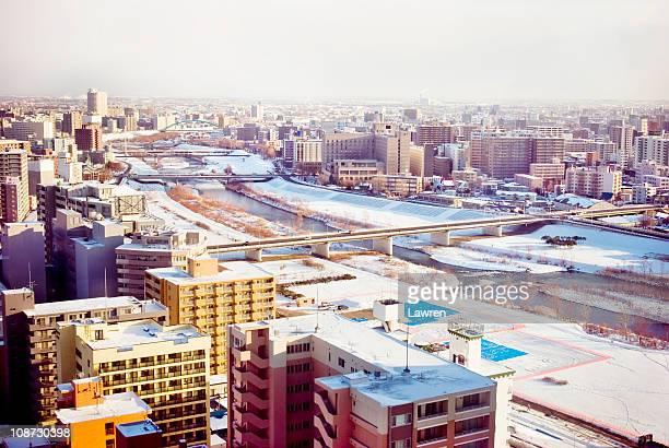 Toyohira river run through Sapporo city