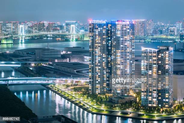 toyosu cityscape - kanto region stock photos and pictures