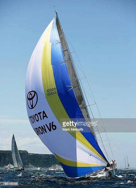 Toyota Aurion V6 heads out of Sydney Harbour during the start of the 63rd Sydney Hobart Yacht Race on December 26 2007 in Sydney Australia The fleet...