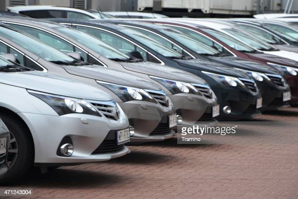 toyota cars in a row - toyota motor co stock pictures, royalty-free photos & images