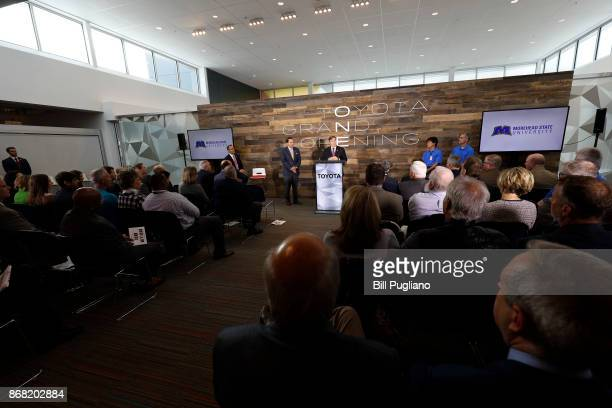 Toyota CEO Jim Lentz and Kentucky Governor Matt Bevin attend the unveiling of a new $80 million Toyota engineering headquarters October 30 2017 in...