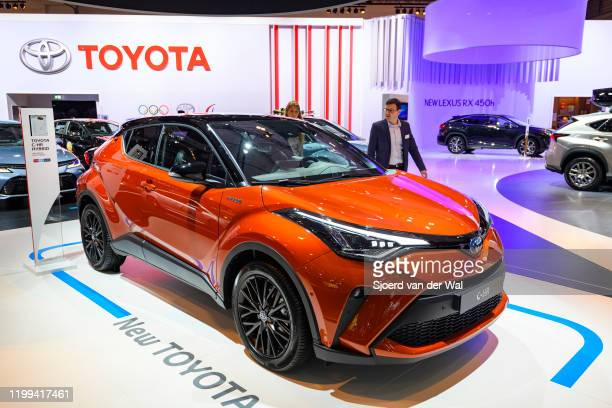 Toyota C-HR Hybrid compact crossover SUV on display at Brussels Expo on January 9, 2020 in Brussels, Belgium.