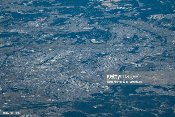 Toyota city in Aichi prefecture in Japan daytime aerial view from airplane