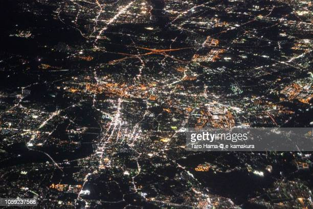 Toyota city in Aichi prefecture in Japan night time aerial view from airplane