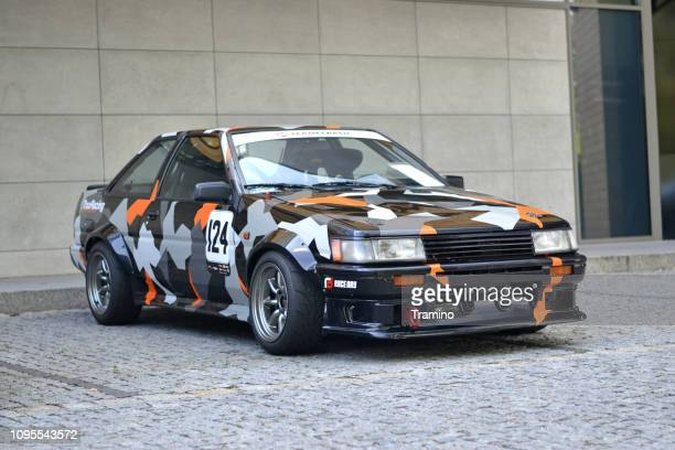 toyota corolla ae86 in sports car version - rally car stock photos and pictures