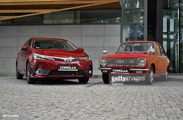 toyota corolla - the newest and the oldest generation - toyota motor co stock pictures, royalty-free photos & images