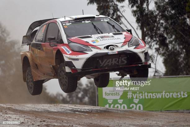 Toyota driver Esapekka Lappi of Finland leaps over a jump on the final day of the World Rally Championship event Rally Australia near Coffs Harbour...