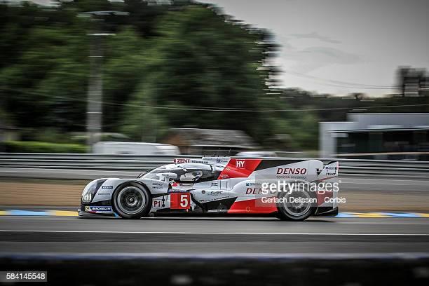 Toyota Gazoo Racing #5 Toyota TS050 Hybrid with Drivers Anthony Davidson Sebastien Buemi and Kazuki Nakajima during the 84th running of the Le Mans...