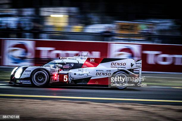Toyota Gazoo Racing #5 Toyota TS050 Hybrid with Drivers Anthony Davidson Sebastien Buemi and Kazuki Nakajima during the 84th running of the Le Mans...