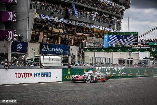 Toyota Gazoo Racing , #5 Toyota TS050 Hybrid with Drivers Anthony Davidson , Sebastien Buemi and Kazuki Nakajima stops in final lap during the 84th...