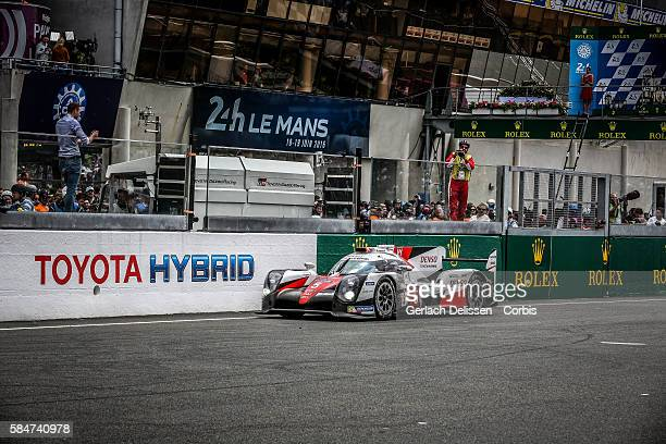 Toyota Gazoo Racing #5 Toyota TS050 Hybrid with Drivers Anthony Davidson Sebastien Buemi and Kazuki Nakajima finish and loses the 84th running of the...