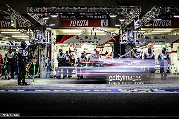 Toyota Gazoo Racing #6 Toyota TS050 Hybrid with Drivers Stephane Sarrazin Michal Conway and Kamui Kobayashi in the pit lane during the 84th running...