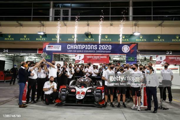 Toyota Gazoo Racing celebrate the Toyota Gazoo Racing TS050 Hybrid of Jose Maria Lopez of Argentina, Kamui Kobayashi of Japan, and Mike Conway of...