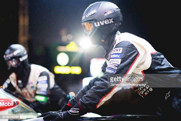 Toyota Gazoo Racing mechanic during a pitstop during a qualifying session for the Le Mans 24 Hour Race on June 14, 2018 in Le Mans, France.