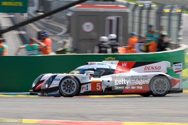 Toyota GAZOO TS050 Hybrid LMP1 race car driven by A DAVIDSON / S BUEMI / K NAKAJIMA driving into La Source hairpin during the 6 Hours of...