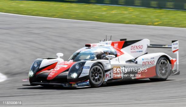 Toyota GAZOO TS050 Hybrid LMP1 race car driven by A. DAVIDSON / S. BUEMI / K. NAKAJIMA driving into La Source hairpin during the 6 Hours of...