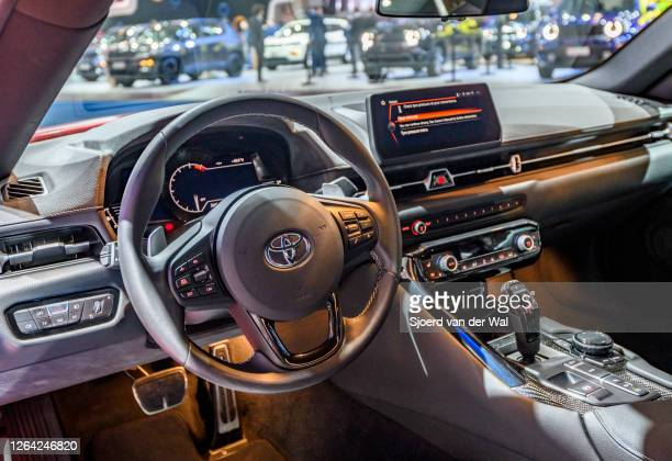 Toyota GR Supra sports car on display at Brussels Expo on January 9, 2020 in Brussels, Belgium. The new Toyota GR Supra was developped together with...