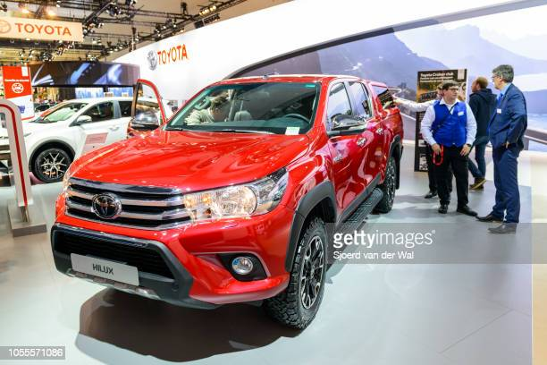 Toyota Hilux pick up truck on display at Brussels Expo on January 13 2017 in Brussels Belgium The eighth generation Toyota Hilux is available as 2 or...