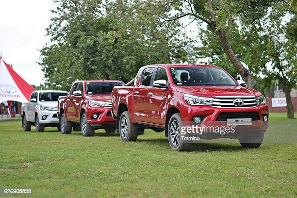 toyota hilux vehicles on the grass - toyota motor co stock pictures, royalty-free photos & images