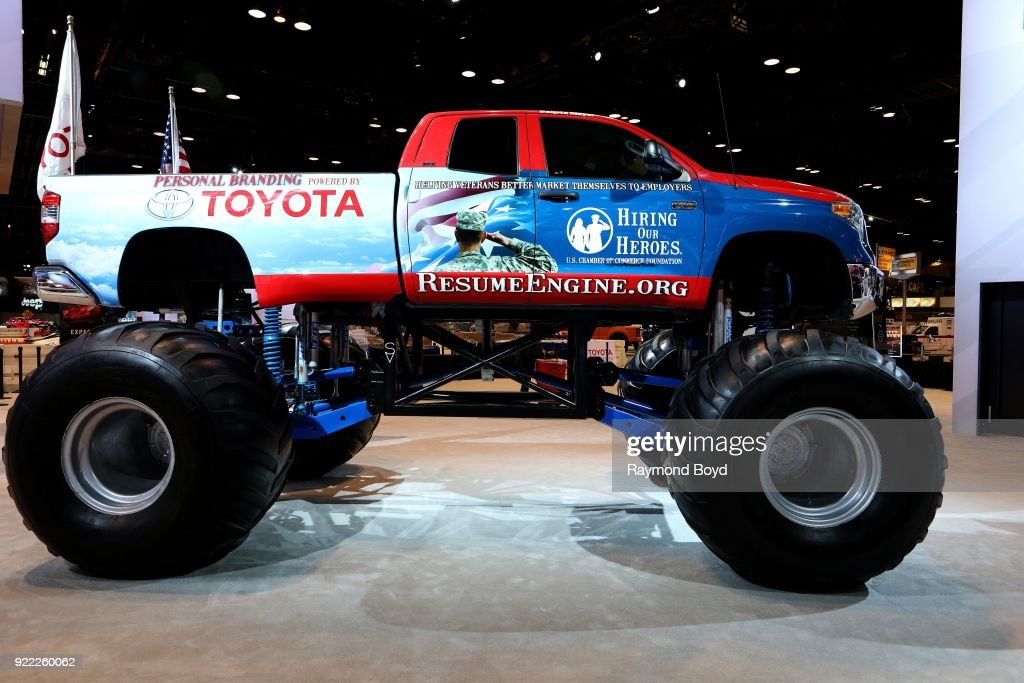 Toyota 'Hiring Our Heroes' monster truck is on display at the 110th Annual Chicago Auto Show at McCormick Place in Chicago, Illinois on February 9, 2018.