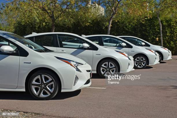 toyota hybrid cars - hybrid car stock photos and pictures