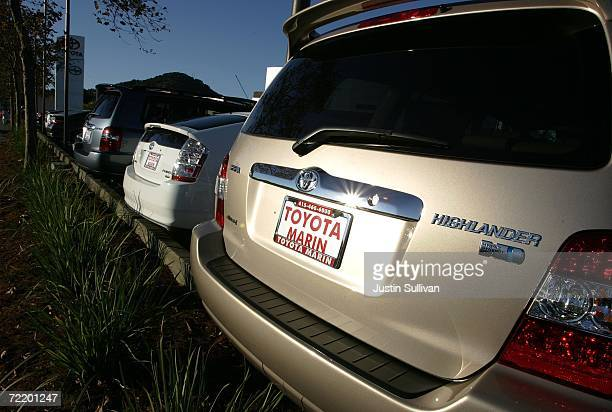 Toyota hybrid vehicles are seen at a Toyota dealership October 17 2006 in San Rafael California Economy and Hybrid vehicles built by Toyota and Honda...