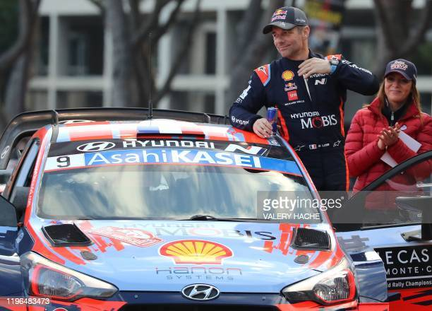 Toyota Hyundai i 20 WRC France's Sebastien Loeb reacts on podium after the 88th Monte-Carlo Rally, the inaugural race of the 2020 FIA World Rally...