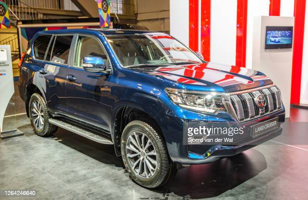 Toyota Land Cruiser off road SUV on display at Brussels Expo on January 9, 2020 in Brussels, Belgium. The Land Cruiser is available with various...