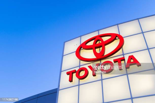 Toyota logo is seen at a dealership in San Jose, California on August 27, 2019. President Donald Trump signs the U.S.-Japan Trade Agreement and...
