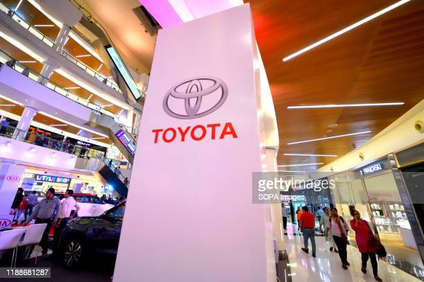 Toyota Logo seen during the car carnival at the South City Mall in Kolkata. The Times Indian group has organised the biggest Automobiles & lifestyle...