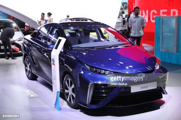 Toyota Mirai stands at the 2017 Frankfurt Auto Show on September 12 2017 in Frankfurt am Main Germany The Frankfurt Auto Show is taking place during...