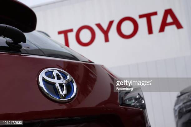 Toyota Motor Co. Badge is seen on a Corolla Touring wagon displayed outside a dealership in Tokyo, Japan, on Sunday, May 10, 2020....