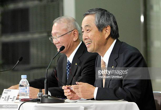 Toyota Motor Co Executive Vice President Yoichiro Ichimaru and Daihatsu Motor Co President Koichi Ina attend a press conference on September 28 2010...