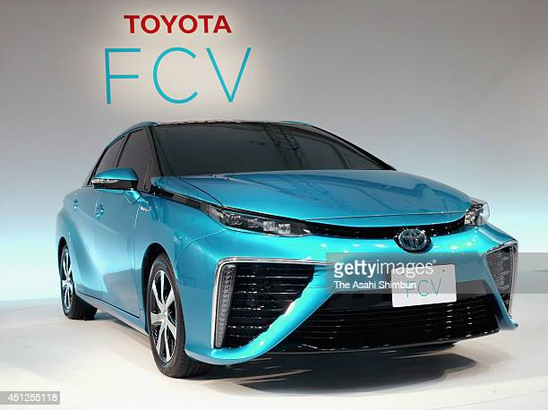 Toyota Motor Co new hydrogen fuelcell sedan is displayed during its unveiling on June 25 2014 in Tokyo Japan The FCV Sedan which was first unveiled...