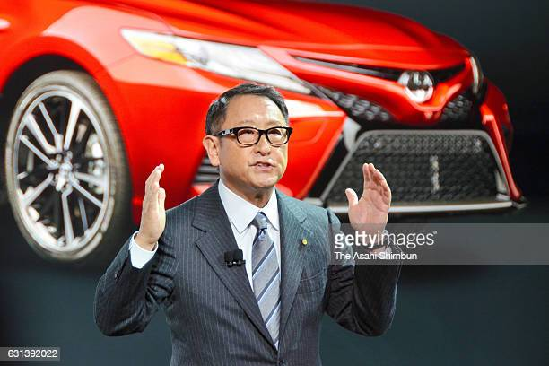Toyota Motor Co President Akio Toyoda introduces the 2018 Camry during the North American International Auto Show on January 9 2017 in Detroit...