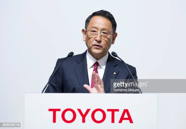 Toyota Motor Co President Akio Toyoda speaks during a joint press conference with Mazda Motor Co President and CEO Masamichi Kogai not pictured on...